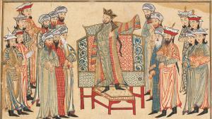 رسمة لبلاط أحد الخلفاء العباسيين. via Wikimedia Commons