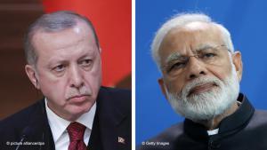 رئيس تركيا رجب طيب إردوغان (يسار) ورئيس وزراء الهند نارندرا مودي (يمين). (photo: Sean Gallup/Getty Images)