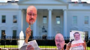 مظاهرة أمام البيت الأبيض مطالبة بكشف حقيقة قضية خاشقجي.  (imago stock&people / Kevin Dietsch)