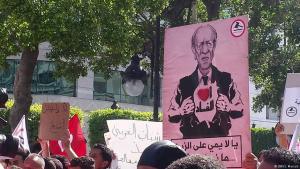 احتجاجات ضد الرئيس الباجي قائد السبسي وحكومة تونس.  Foto: S. Mersch/DW