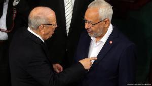 رئيس حركة النهضة التونسية راشد الغنوشي والرئيس التونسي الباجي قائد السبسي.