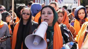احتجاجات نساء أفغانيات في مظاهرات.  Foto: DW/H.Sirat