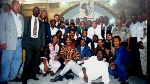 افتتاح مركز الجالية الإفريقية في القدس عام 1996 بحضور كاتب هذا المقال ياسر قوس.  Foto: privat