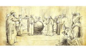 الإدريسي في قاعة روجر الثاني مع حشد من الوجهاء والأمراء وهو يقوم بشرح كروية الأرض. الصورة ملكية عامة، كونها عملاً فنياً قديماً مر عليه أكثر من 100 عام. Wikipedia