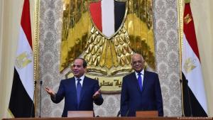 الرئيس السيسي في البرلمان مع بدء ولايته الثانية عام 2018.