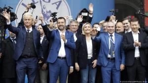 لقاء قادة اليمينيين الشعبويين في أوروبا في مدينة ميلانو الإيطالية في الشهر الماضي.الصورة بيكتشر الياس ز أ.ب