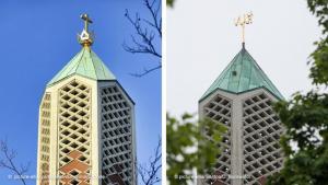 صورة لبرج كنيسة في هامبورغ قبل وبعد تحويلها لمسجد النور