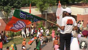 أنصار حزب بهاراتيا جاناتا يحتفلون في نيودلهي بفوز ناريندرا مودي - الهند.  (photo: DW)