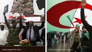 صورتان إحداهما إلى جانب الأخرى: السودان / الجزائر: في السودان توصل الجيش والحركة الاحتجاجية إلى اتفاق، أما في الجزائر فقد تم تنظيم مظاهرات أخرى. Foto: AP/picture-alliance/AFP/Getty Images