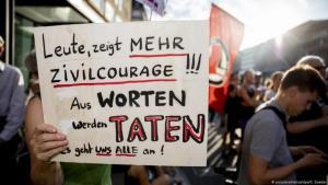 مسيرة في برلين  في يونيو / حزيران 2019 ضد العنف اليميني المتطرف.  Foto: Picture Alliance/dpa/C. Soeder