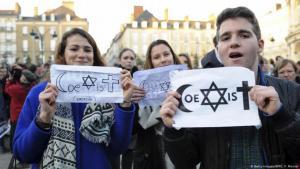 """اليهود والمسلمون ليسوا أعداء - """"التعايش"""" أصبح  هو الشعار.  Foto: Getty Images/AFP/J. F. Monier"""