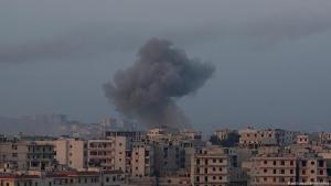 غارات جوية على كفر حمرة قرب حلب - سوريا بتاريخ 28 / 02 / 2016.  Foto: picture-alliance/abaca