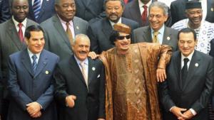 قادة عرب تم قتلم أو توفو بعد الربيع العربي. معمر القذافي وبن علي التونسي وعلي عبد الله صالح. الصورة ب د ا