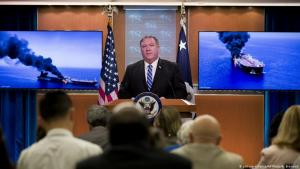 وزير الخارجية الأمريكي مايك بومبو في 13 يونيو / حزيران 2019 خلال مؤتمر صحفي في وزارة الخارجية حول هجمات الناقلات النفطية في منطقة الخليج. Foto: picture-alliance/AP
