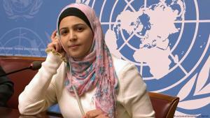 مُزُن المليحان ناشطة سورية في مجال التعليم - مقر الأمم المتحدة - جنيف. Foto: picture-alliance/dpa