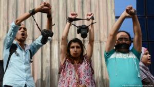 احتجاجات ضد حبس الصحفيين في القاهرة - مصر. Foto: picture-alliance/Zuma Press