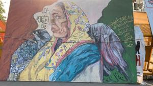 لافتة ضخمة في احتجاج النساء المسلمات في حي شاهين باغ 15 / 02 / 2020 - الهند. (photo: DW/A. Ansari)