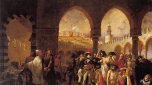 نابليون بونابارت يزور مبنى للحجر الصحي في يافا عام 1799. لوحة أنطوان غروس، 1804.