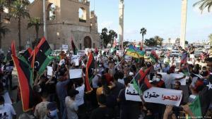 احتجاجات في عاصمة ليبيا طرابلس على سوء أحوال المعيشة  - في نهاية أغسطس / آب 2020.