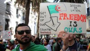 مظاهرة مطالبة بالحرية في الجزائر.