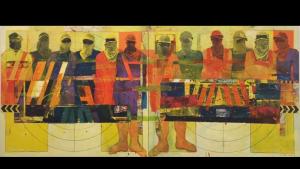 """عمال آسيويون يدين لهم الازدهار الاقتصادي في دول الخليج بالكثير لوحة للفنان القطري فرج دهام (من مواليد 1956) في عمله """"شاحنة وعمال"""" (2011). (photo: Sultan Sooud Al Qassemi)"""
