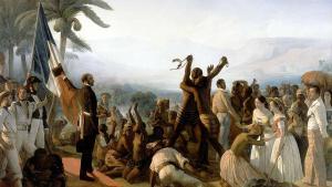 لوحة فنية حول إلغاء العبودية مرسومة بريشة فرانسوا أوغست بيارد 1849. https://commons.wikimedia.org)