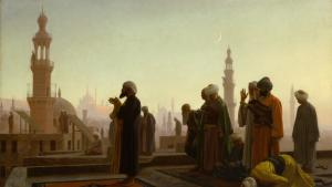 رسمة جان ليون جيروم -صلاة في القاهرة - مصر. Quelle: Kunsthalle Hamburg [[File:Prayer in Cairo 1865.jpg|Prayer in Cairo 1865]] https://commons.wikimedia.org/wiki/File:Prayer_in_Cairo_1865.jpg