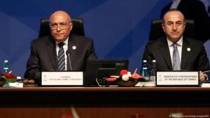 الصورة من الأرشيف - وزير الخارجية المصري سامح شكري (يسار) ووزير الخارجية التركي مولود تشاووش أوغلو (يمين).