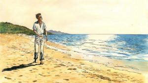 جزء من غلاف رواية الغريب بعد أن حوّلها الفنان جاك فرناندز إلى رواية مصوّرة. الصزرة موقع حبر