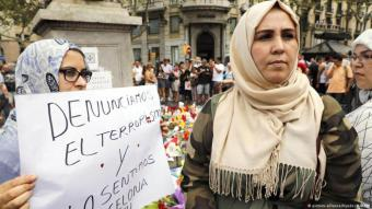نساء مسلمات نددن بالعنف في برشلونة