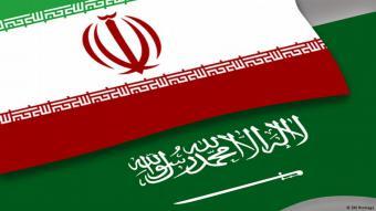 المملكة العربية السعودية وإيران. صورة رمزية لأعلام الدول . الصورة دوبتشه فيله