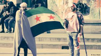 نشطاء سوريون تقمصوا أدوار ضحايا الحرب في الغوطة الشرقية وجابوا شوارع برلين للتعبير عن معاناة المدنيين جراء هذه الحرب.
