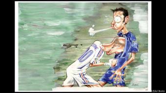 """نطحة زيدان: في عام 2006، استضافت ألمانيا دورة كأس العالم، وفي المباراة النهائية، خسرت فرنسا أمام إيطاليا بضربات الجزاء. أسوأ لحظة في المباراة، كانت لحظة نطح كابتن منتخب فرنسا آنذاك، زين الدين زيدان، الإيطالي ماتيرازي برأسه، بعد أن نجح ماتيرازي في استفزاز صانع ألعاب """"الديكة"""" زيدان."""