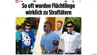 """""""هكذا يتحول اللاجئون إلى مجرمين"""" مثال على عناوين عريضة كثيرة اعتمدتها مؤسسة """"بيلد"""" الإعلامية وغيرها في ألمانيا أثناء تغطيتها لملف اللاجئين. ولا يخفى على أحد أن مثل هذه العناوين لها حمولة سلبية واضحة."""