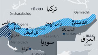 """خريطة سوريا وتركيا - """"منطقة آمنة"""" الراغب إردوغان في إقامتها بشمال سوريا."""