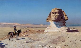 لوحة - نابليون بونابرت أمام أبو الهول في مصر. by Jean-Leon Gerome, 1824 -1904 (source: Wikimedia Commons, Public Domain