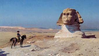 وحة - نابليون بونابرت أمام أبو الهول في مصر Napoleon Bonaparte Aegypten Bild by Jean Leon Gerome 1824  1904 source Wikimedia Commons Public Domain